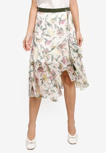 Hopeshow green Ruffle Floral Midi Skirt 58F83AA55EF625GS_1