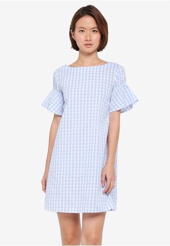 ZALORA blue Ruffle Sleeve Shift Dress 449A7AACE6A41FGS_1