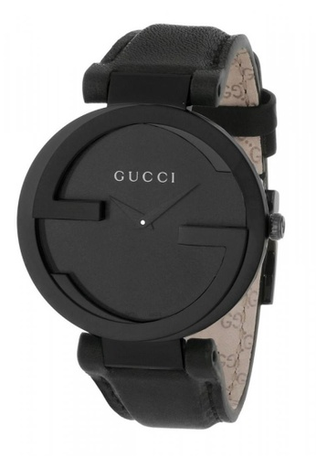 eae6f9e5b57 Gucci black GUCCI Interlocking G Black Dial Black Leather Strap Unisex  Watch 7C5DBAC0F41640GS 1