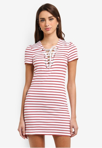 Bardot red Stripe Swing Dress BA332AA0ST87MY_1