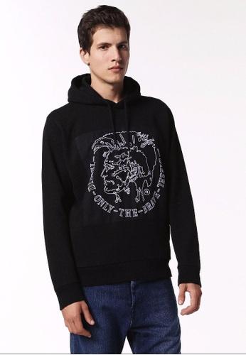Diesel black S-Albert Hoodie With Embroidery 513CDAA668CB40GS_1