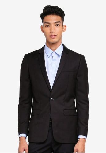 Topman black Black Slim Suit Jacket AB36BAA4127078GS_1