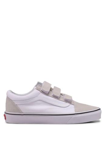VANS white and beige Old Skool V Sneakers BE347SH13CA886GS_1
