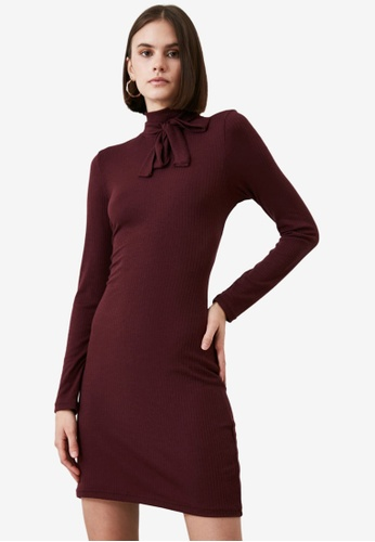 Trendyol red Low Back Knitted Dress 8014FAA035E325GS_1