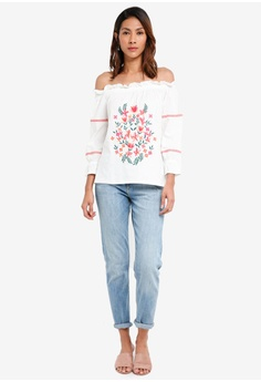 cdf9df1a25b5f3 54% OFF Dorothy Perkins Ivory Embroidered Bardot Top S  56.90 NOW S  25.90  Sizes 6 10 12 14