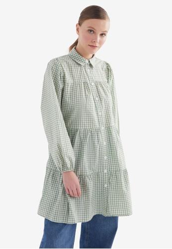 Trendyol 綠色 格紋Tunic 襯衫 C4C23AA110EC1AGS_1