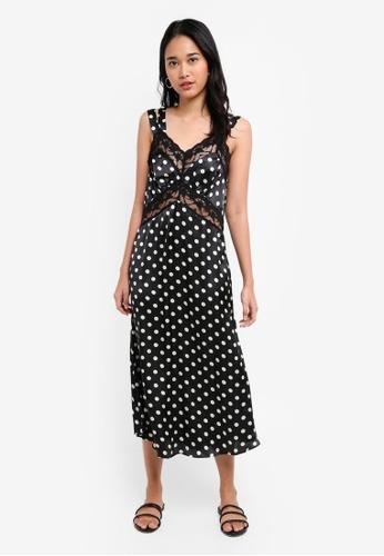 TOPSHOP black Polka Dot Lace Satin Slip Dress E60C1AAD4D2832GS_1