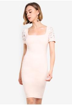 e8b6a3ca09fd Vesper pink Portia Lace Sleeve Detail Dress 2F4D3AA23B02F5GS_1