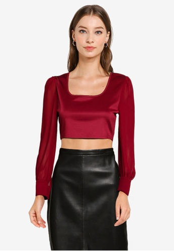 ZALORA OCCASION red Balloon Sleeve Crop Top 3DD06AA6194FDCGS_1