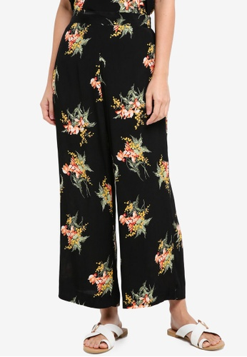 WAREHOUSE black Tropical Bunch Culottes 81DD9AAD0273F1GS_1