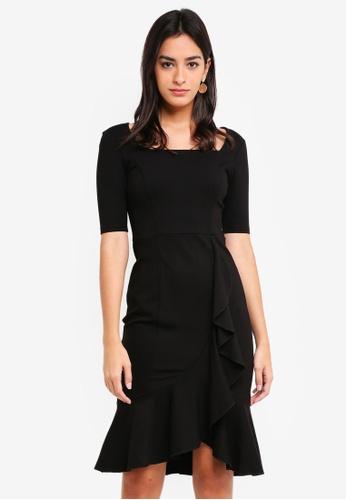 MDSCollections black Madeline Ruffled-Hem Dress In Black 217E5AAF9BA1CEGS_1
