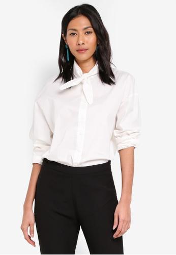 bYSI white Neck Tie Button Oversized Shirt 539C5AAE1C207CGS_1