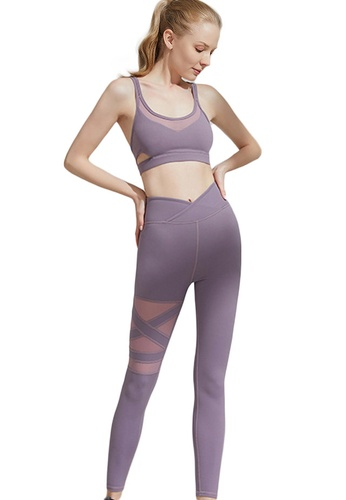 Sunnydaysweety purple Cross Back Quick-Drying Sports Bra with Legging Set A21031702PU 2B45BAA2397640GS_1
