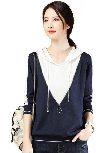 A-IN GIRLS white and blue Two-Layers Stitching Hooded Sweater A8A16AAE2CA44FGS_1