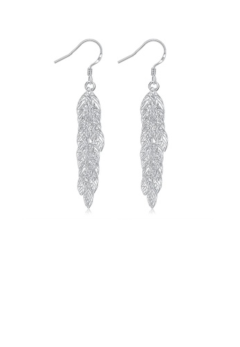Glamorousky silver Fashion Romantic Hollow Leaf Earrings DC862ACF5C05CBGS_1