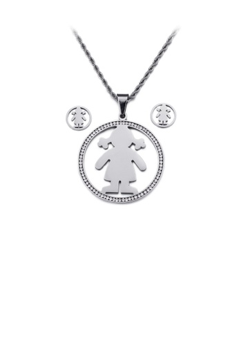 Glamorousky white Fashion Personality Girl Geometric Round 316L Stainless Steel Necklace and Stud Earrings Set with Cubic Zirconia 276B9AC8794CA3GS_1