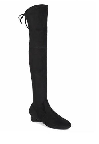 Twenty Eight Shoes black Supper Skinny Suede Fabric Over Knee Long Boots 719-12 2EFDDSH11EEA21GS_1