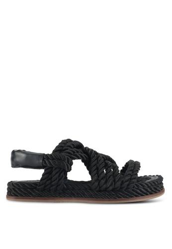 TOPSHOP black Fiesta Rope Flat Sandals AC483SHAF11F6BGS_1