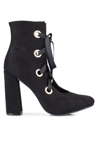 ZALORA 黑色 粗跟 花邊 靴子 44141ZZ7BBE2C1GS_1
