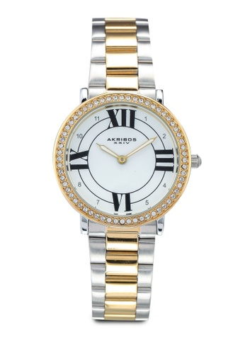 Akribos XXIV silver and gold Swarovski Crystal Watch 7BAC7AC96D6DDCGS_1