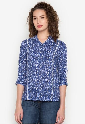 Freego blue Ladies Printed Shirt FR760AA0K3SDPH_1