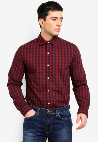 Cotton On 紅色 and 海軍藍色 修身襯衫 01108AAFF43168GS_1