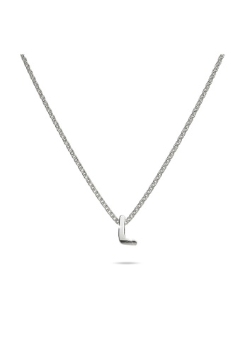 925 Signature silver 925 SIGNATURE Solid 925 Sterling Silver Initial Alphabet Letter Necklace  - L 36CB0ACC608755GS_1