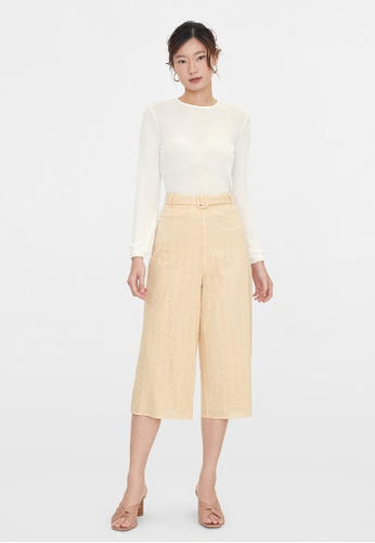 Pomelo beige Eyelet Belt Wide Leg Pants - Beige 3FEB9AADD3E8C4GS_1