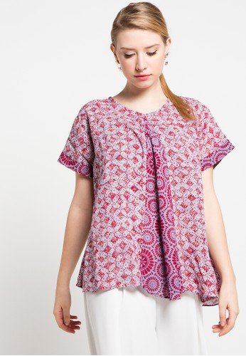 Batik Aksen Tropis Blouse Paris Kombinasi