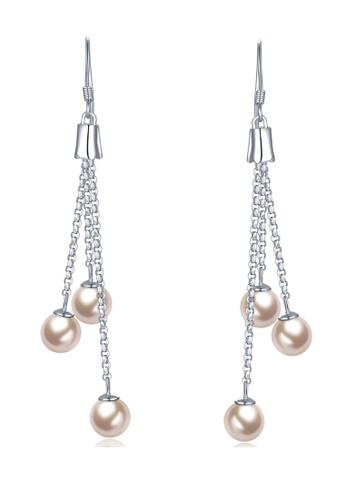 MBLife silver 925 Sterling Silver Triple Pearl Dangle Earrings 26325AC60A5071GS_1