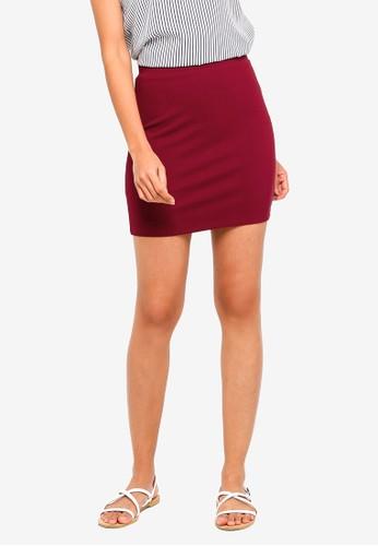 ZALORA BASICS red Basic Bodycon Mini Skirt 02086AAA92DC2AGS_1