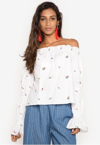 Spring Fling white Off Shoulders Embroidered Top SP673AA0IPFLPH_1