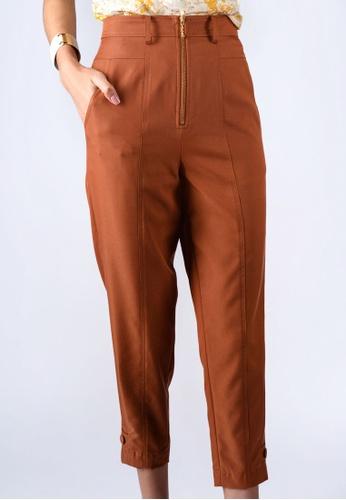 miss Viola orange ZIP-OPENING TAPERED PANTS 28057AABDBE845GS_1