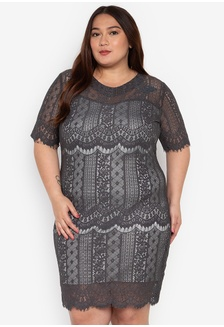 740c3f41b245 Plus Size Carrie Short Lace Dress 4F092AA10820E9GS 1