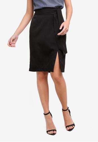 ZALORA black Soft Tailored Self Tie Skirt F5633AA272D729GS_1