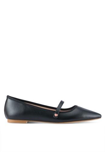 Velvet black Mary Jane Pointed Flats 1BB66SH5B378C0GS_1