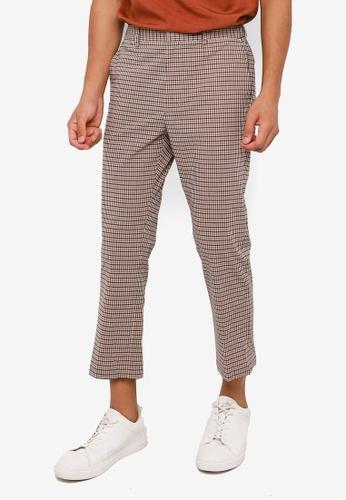 RAGEBLUE brown Check Slim Trousers C829EAAB7A2271GS_1