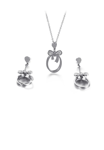 Glamorousky white Simple and Fashion Geometric Round Ribbon Cubic Zirconia 316L Stainless Steel Necklace and Earrings Set C8CB3AC7B81C84GS_1