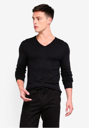 OVS 黑色 V Neck Knitwear Tricot Jumper 22E6CAA744F4B3GS_1