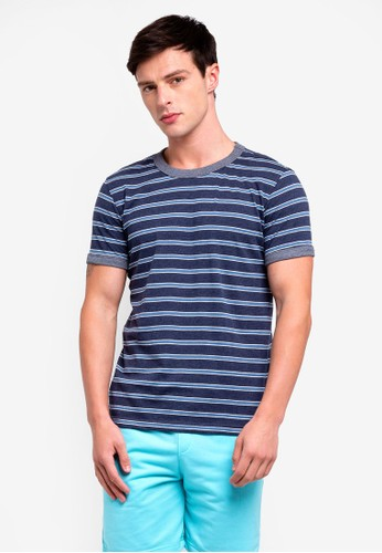 UniqTee navy Striped T-shirt With Contrast Neck And Cuff A2BC4AACB1BFD1GS_1
