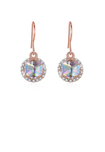 Glamorousky gold 925 Sterling Silver Fashion Sparkling Round and Cube Austrian Element Crystal Earrings 2296BACE6C41D3GS_1