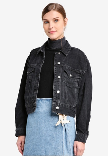 TOPSHOP black Moto Cropped Oversized Jacket TO412AA0T0VQMY_1