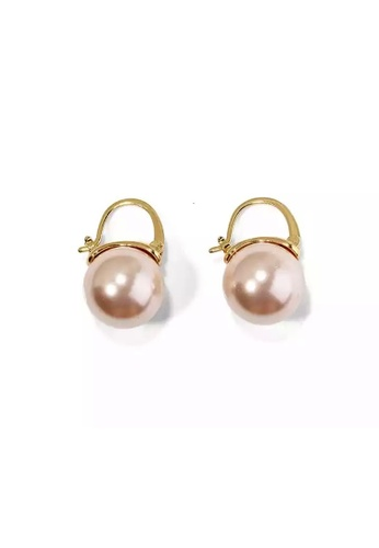 Glamorbit bronze Rose Gold Pearl Statement Earrings FEBD0AC38B18BFGS_1
