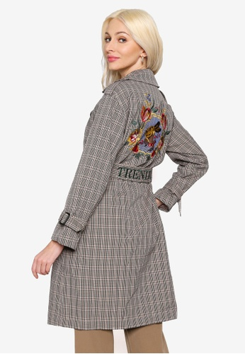 Hopeshow green Double Breasted Plaid Trench Coat 17467AA2BAAF9AGS_1