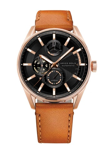 Aries Gold brown Aries Gold Roadster Black, Rose Gold and Tan Leather Watch 8D4CBAC7760C8FGS_1