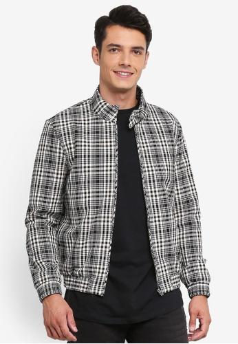 Topman 黑色 高領格紋夾克外套 DE418AA5CFDDE1GS_1