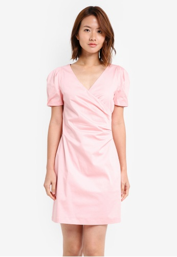 ZALORA pink V Neck Puff Sleeve Bodycon Dress E402BAA39D9D3AGS_1