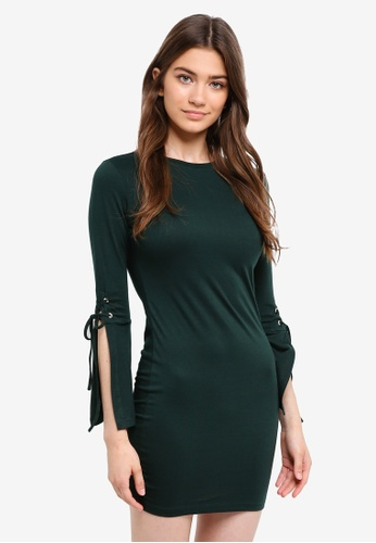 Something Borrowed green Laced Up Sleeves Bodycon Dress F4D2AAA4D1498FGS_1
