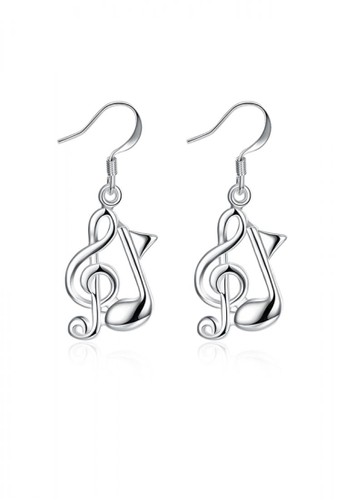 Glamorousky silver Simple and Fashion Music Note Earrings A7B24ACBBC575EGS_1