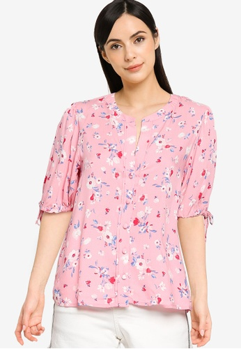Springfield pink Printed Puffed Sleeves Blouse 81FF9AA1FC60BCGS_1